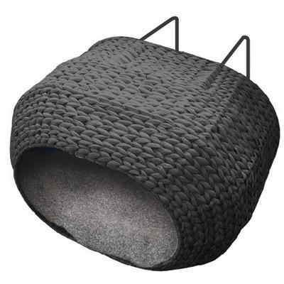 Katzen Heizungskorb SUNRISE mit Kissen, ca.45x30x30cm schwarz, Bast
