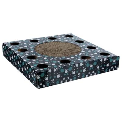 Katzen Kratzpappe mit Spielzeug, 33 × 33 cm, schwarz