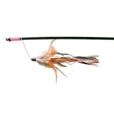 Katzen Spielangel mit Lederbändchen und Federn, 50 cm