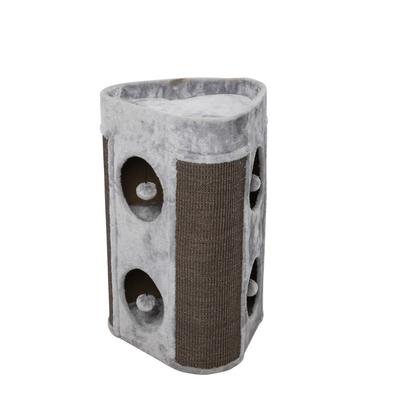 Katzenkratztonne Trend Aspen, 45 x 42 x 70 cm, grau