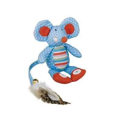Katzenspielzeug Stoffmaus mit Knisterohren, 18 cm, blau