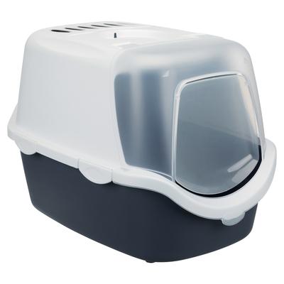 Katzentoilette Vico Easy Clean mit Frontklappe, 40 × 40 × 56 cm, blaugrau/weiß