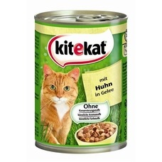 Kitekat Dosenfutter für Katzen, Huhn in Gelee, 12x400g