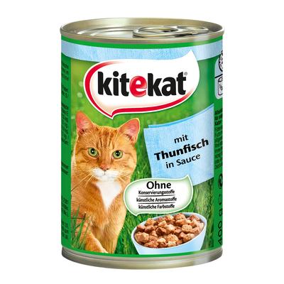 Kitekat Dosenfutter für Katzen, Thunfisch in Soße, 12x400g