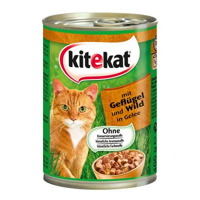 Kitekat Dosenfutter für Katzen, Geflügel und Wild in Gelee 12x400g