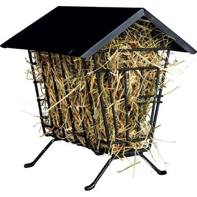 Kleintier Heuraufe zum Aufstellen mit Dach