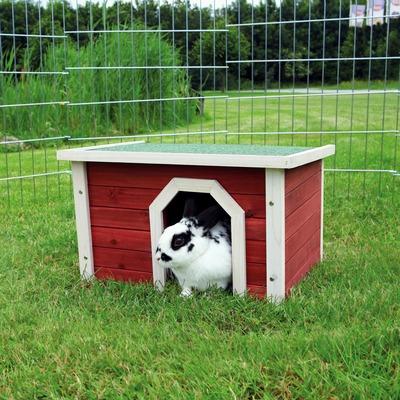 Kleintierhaus aus Holz rot weiß
