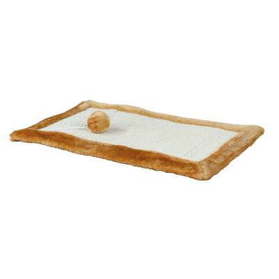 Kratzmatte mit Plüsch für Katzen, Plüsch, 55 × 35 cm, braun