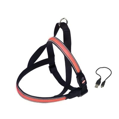 LED Norweger Geschirr FLASH MESH für Hunde, XL:  L: 80-100 cm + 56, B: 38 mm, rot