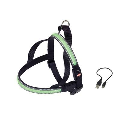 LED Norweger Geschirr FLASH MESH für Hunde, XL:  L: 80-100 cm + 56, B: 38 mm, grün