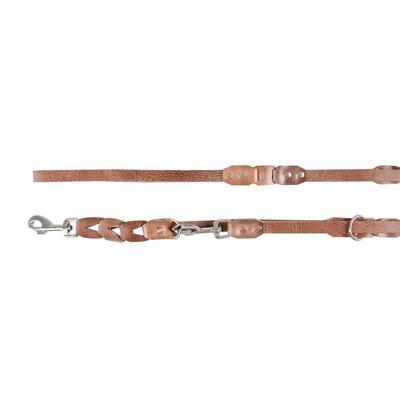 Lederführleine Connex für Hunde, grau-braun - L: 200 cm B: 18 mm