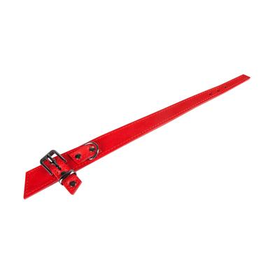 Lederhalsband BowTie für Hunde, rot - L: 55 cm B: 30 mm (Verstellbarkeit Hals: 43 - 49 cm)
