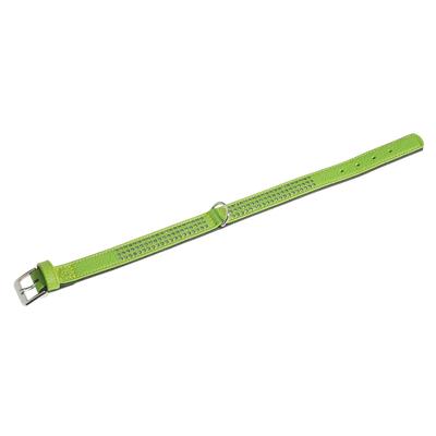 Lederhalsband Vintage mit Strass für Hunde, grün, dreireihig - L: 40 cm B: 24 mm
