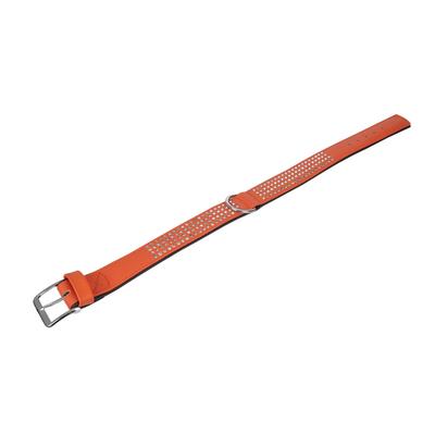 Lederhalsband Vintage mit Strass für Hunde, mandarine, vierreihig - L: 60 cm B: 40 mm