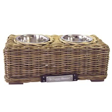 Happy House Luxus Rattan Hundebar Doppelnapf