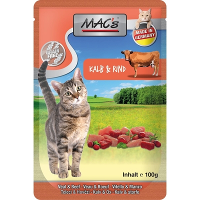 MACs Cat Pouch Pack Frischebeutel, Kalb & Rind mit Cranberry und Kräutermix, 12x100g