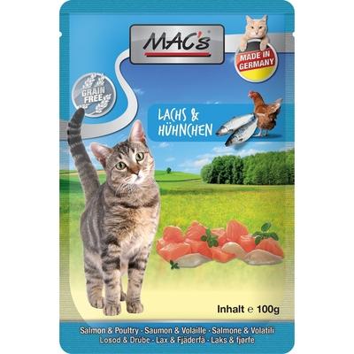 MACs Cat Pouch Pack Frischebeutel, Lachs & Geflügel mit Preiselbeeren und Kräutermix, 12x100g