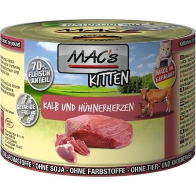 MACs Katzenfutter Kitten, Kitten Kalb & Hühnerherzen 6x200g