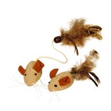Mäuse mit Federn Nature, 2 Stück, 4,5 cm