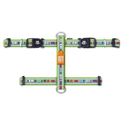 Max & Molly H-Geschirr Traffic Jam, L: Hals 46-77 cm, Brust 2,5 x 71-98 cm