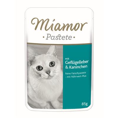 Miamor Pastete, Geflügelleber & Kaninchen 24x85g im Portionsbeutel