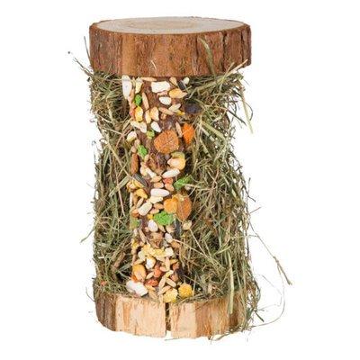 TRIXIE Natur-Snack Holzturm mit Heufüllung