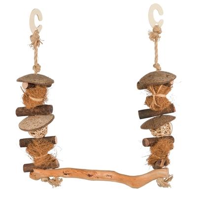 TRIXIE Natural Living Vogel Schaukel aus Holz und Kokosnuss