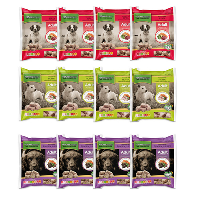 Natures Menu Basic BARF Komplettmenü für Hunde, 3 Sorten, 12 x 1 kg