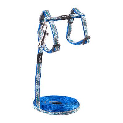NightCat - Katzengeschirr mit Leine, reflektierend, Gr. XS - Blue Floral