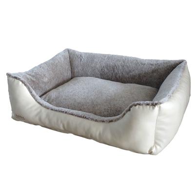 Nobby Komfort Bett für Hunde und Katzen eckig CALI, L x B x H: 80 x 60 x 23 cm, creme/hellbraun