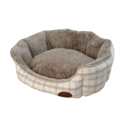 Nobby Komfort Haustier Bett oval CHECKER, L x B x H: 55 x 50 x 21 cm, hellbraun