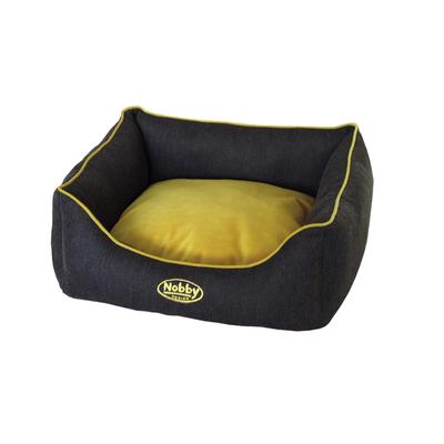 Nobby Komfort Haustierbett eckig PIOLA, L x B x H: 60 x 48 x 19 cm, grau/gelb