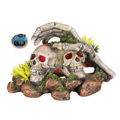 Nobby LED Totenkopf mit Pflanzen