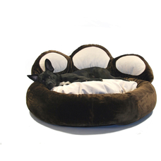 Pfotenbett für Hunde, Ø 80cm, braun/dunkelbraun