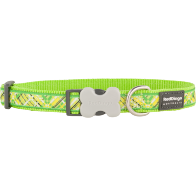 Red Dingo Hundehalsband Design Flanno Lime Green