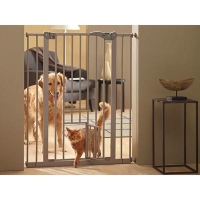 Savic Hundebarriere Absperrtür Dog Barrier, Höhe 107 cm, Breite 75-84 cm, mit integrierter Katzentür