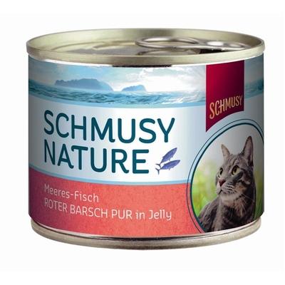 Schmusy Nature Meeres-Fisch Katzenfutter, Roter Barsch pur 12x185g Dose
