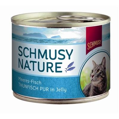 Schmusy Nature Meeres-Fisch Katzenfutter, Thunfisch pur 12x185g Dose