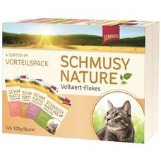Schmusy Nature Vollwert-Flakes Katzenfutter im Multipack, 12x100g