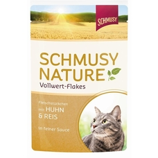 Schmusy Vollwert Flakes Katzenfutter Portionsbeutel, Kaninchen & Reis 22x100g