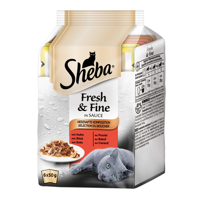 Sheba Fresh&Fine Katzenfutter Multipacks, Herzhafte Komposition in Sauce 6x50g