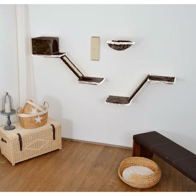 Silvio Design Katzen Kletterwand mit Treppe 8-teilig, dunkelgrau