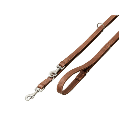 Tibet Lederleine für Hunde mit Flechtung, L: 200 cm B: 22 mm braun
