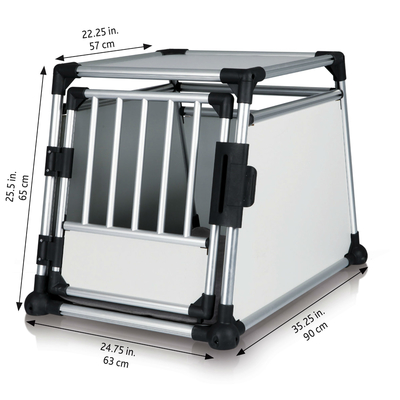 Trixie Hundebox Alubox Autobox für Hunde, M-L: Breite 63 × Höhe 65 × Tiefe 90 cm