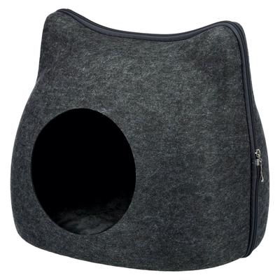 Trixie Kuschelhöhle Cat aus Filz, 38 × 35 × 37 cm, anthrazit