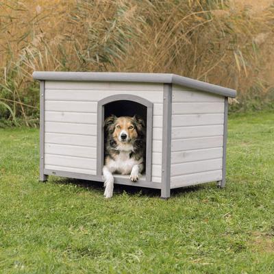 TRIXIE natura Hundehütte Classic mit Flachdach grau, M: 104 × 72 × 68 cm, grau