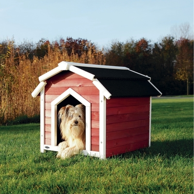 Trixie natura Hundehütte Country, S-M: 71 x 69 x 75 cm, rot/weiß