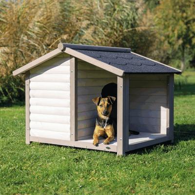 Trixie natura Hundehütte Lodge mit Satteldach grau