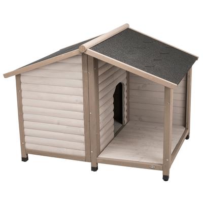 Trixie natura Hundehütte Lodge mit Satteldach grau, L: 130 × 100 × 105 cm, grau