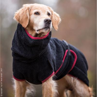Trockenmantel Hund fit4dogs Dryup Cape, schwarz - M: 62 cm